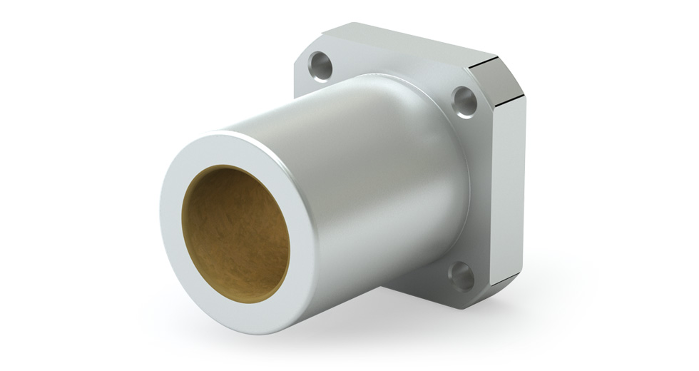 SFPM (Metric) Square Compensated Flange Mount Single Plain Linear Bearing