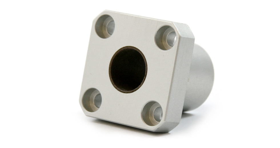 Back view of SFPM (Metric) Square Flange Mount Single Plain Linear Bearing
