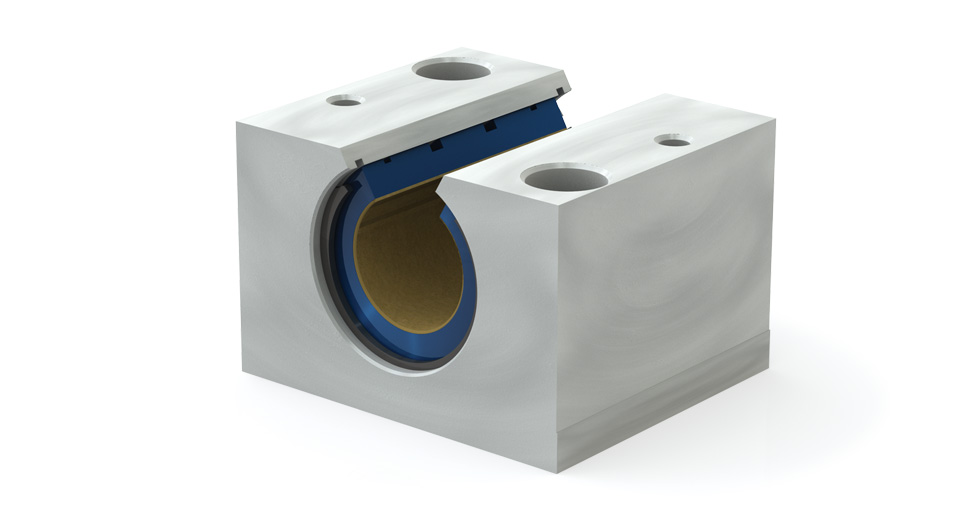 Main view of PMNC Metric Open Compensated Plain Linear Bearing Pillow Block