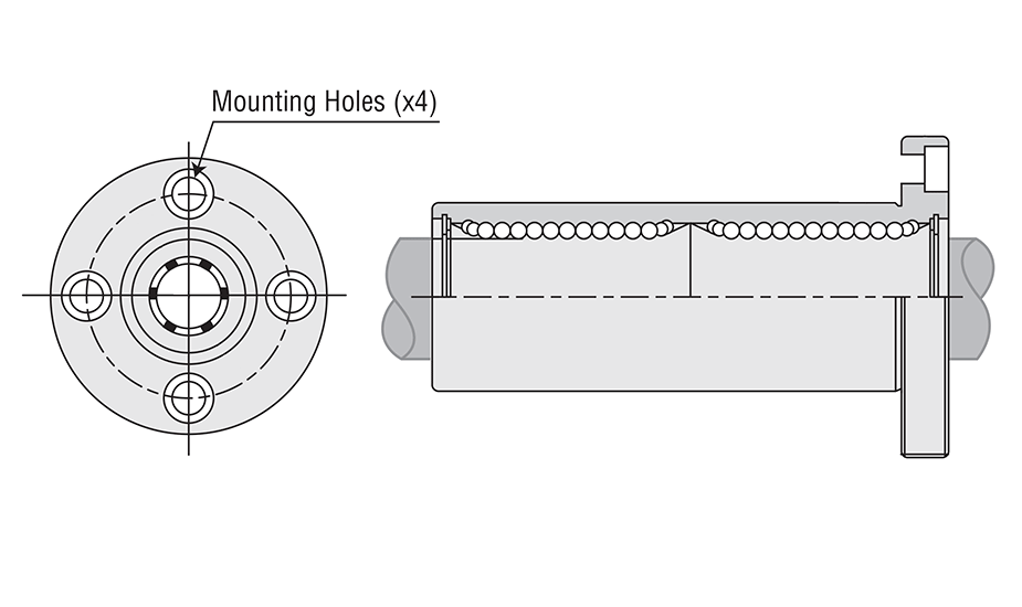 Flange Double Round Ball Bearing (Metric)