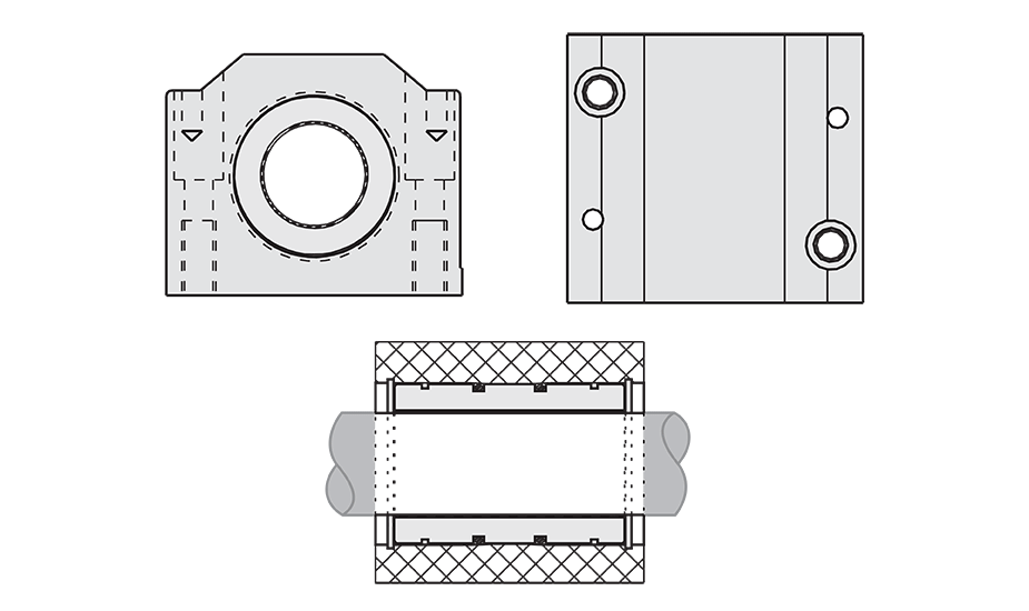 Closed Plain Linear Pillow Block (Metric) Diagram