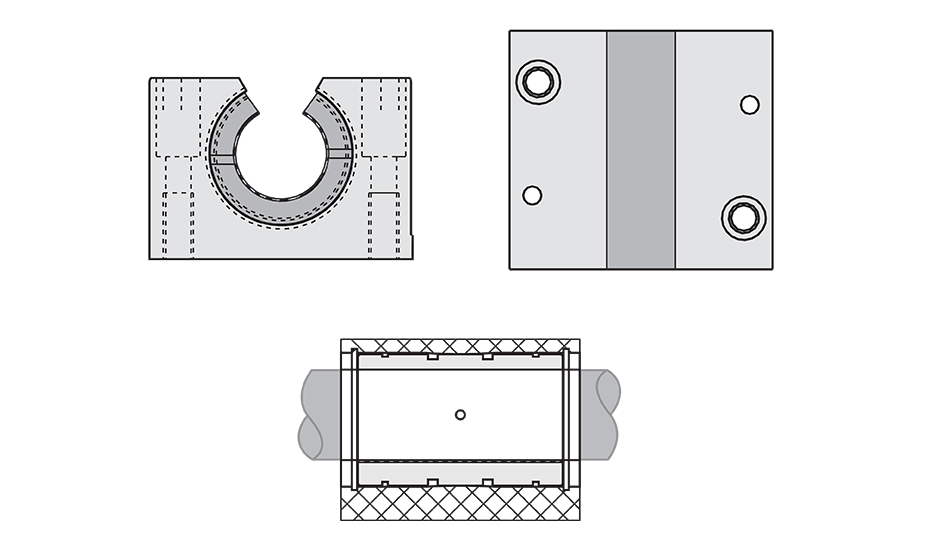 Open Plain Linear Pillow Block (Metric) Diagram