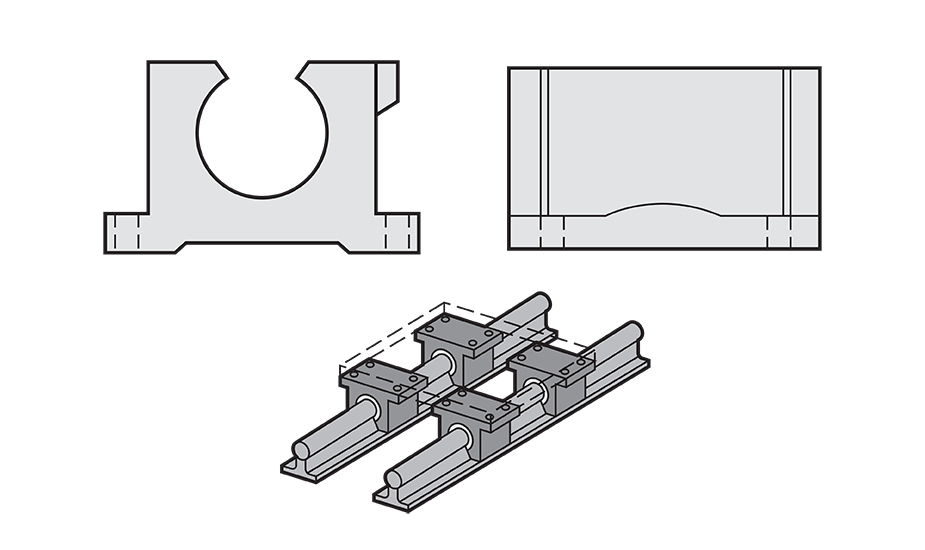 Open Plain Linear Pillow Block (Inch) Diagram