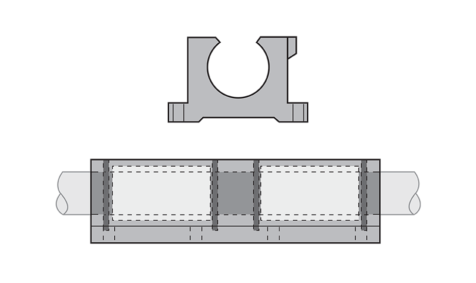 Open Compensated Twin Plain Linear Pillow Block (Inch) Diagram