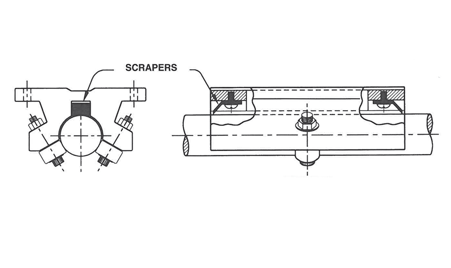 Double Roller Pillow Block (Inch)  – Scraper Option Diagram