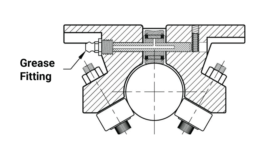 Twin Roller Pillow Block (Metric)  – Grease Fitting Option Diagram
